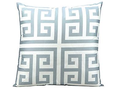 Greek Key Grey Outdoor Pillow, , large