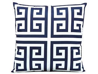 Greek Key Navy Outdoor Pillow, , large