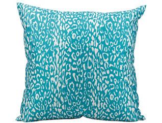 Teal Leopard Outdoor Pillow, , large