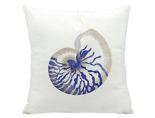 Blue Conch Outdoor Pillow, , large