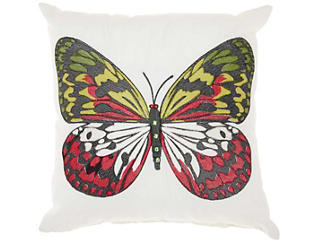 Multi Butterfly Outdoor Pillow, , large