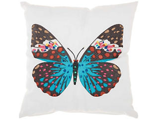 Teal Butterfly Outdoor Pillow, , large