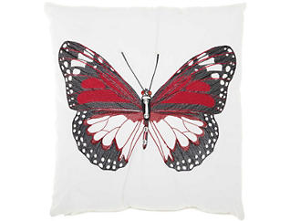 Red Butterfly Outdoor Pillow, , large