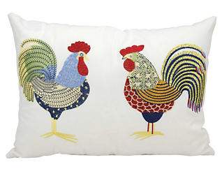 Roosters Outdoor Pillow, , large