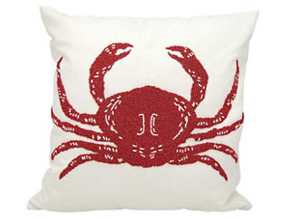 Beaded Crab Outdoor Pillow, , large