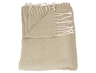 Oakland Beige Throw Blanket, , large