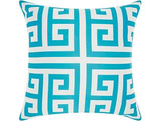 Greek Key Teal Outdoor Pillow, , large