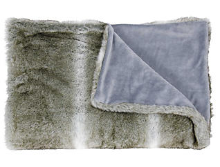 Silver Faux Fur Throw Blanket, , large