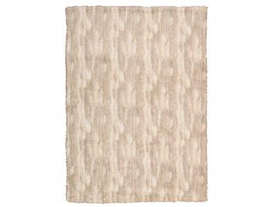 Beige Faux Fur Throw Blanket, , large