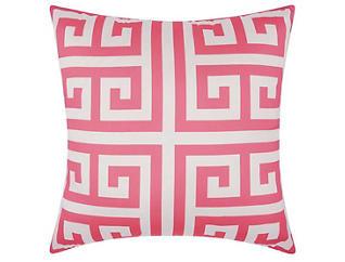 Greek Key Pink Outdoor Pillow, , large