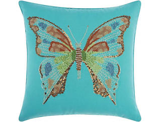 Blue Butterfly Outdoor Pillow, , large