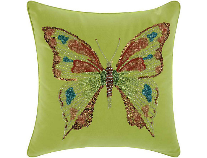 Green Butterfly Outdoor Pillow, , large
