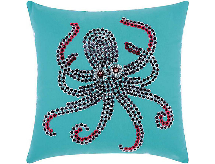 Teal Octopus Outdoor Pillow, , large