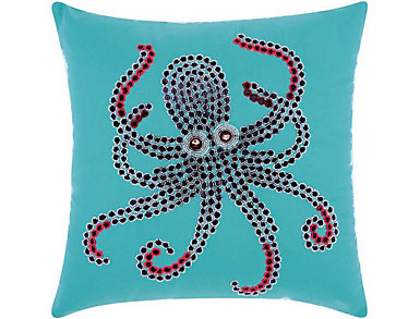 Teal Octopus Outdoor Pillow, , large