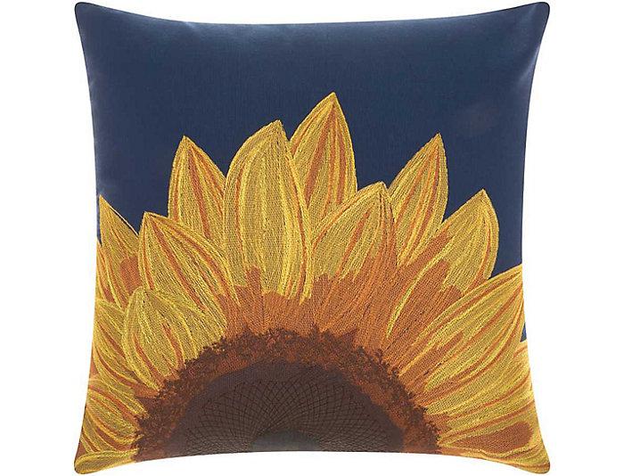 Navy Sunflower Outdoor Pillow, , large