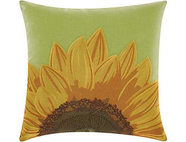 Green Sunflower Outdoor Pillow, , large