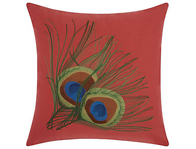 Coral Peacock Outdoor Pillow, , large