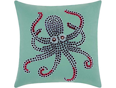 Aqua Octopus Outdoor Pillow, , large