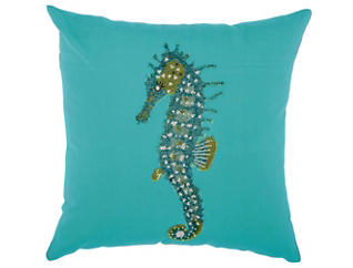 Teal Seahorse Outdoor Pillow, , large