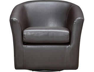 Sten Brown Swivel Accent Chair, Brown, large