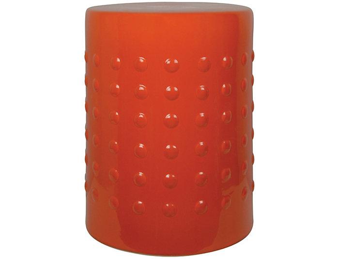 Orange Ceramic Garden Stool, , large