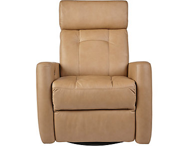 Korver Dual Power Swivel Leather Recliner, , large