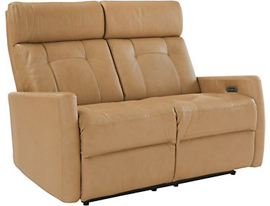 Korver Dual Power Reclining Leather Loveseat, , large