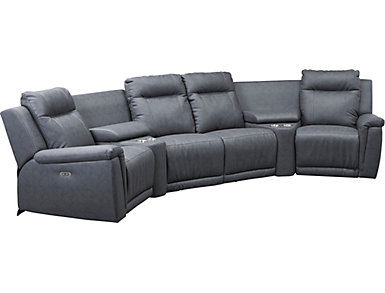 Walsh 6 Piece Dual Power Reclining Sectional, , large