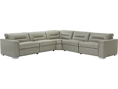 Soto 5 Piece Dual Power Reclining Leather Sectional, , large