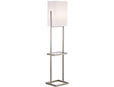 Brushed Nickel Flr Lamp w Tray, , large