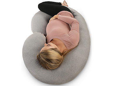 C-Shape Full Body Support Pillow With Grey Jersey Cover, , large