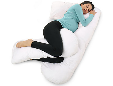 U-Shape Full Body Support Pillow with Cotton Cover, , large