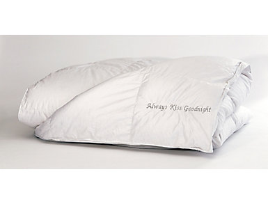 Always Kiss Goodnight Black Embroidered Queen Down Duvet, , large