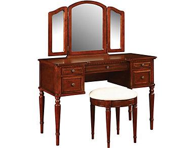 Vanity, Mirror & Bench Cherry, , large