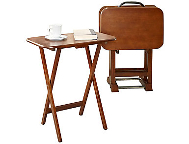 Simes Dark Cherry Tray Tables, , large