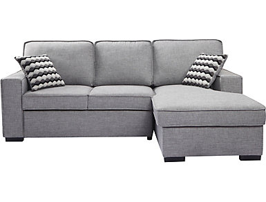 Venetian Sleeper Sectional with Storage Chaise, Grey, , large