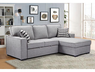 Venetian Grey Sectional with Pull-Out Sleeper & Storage Chaise, , large