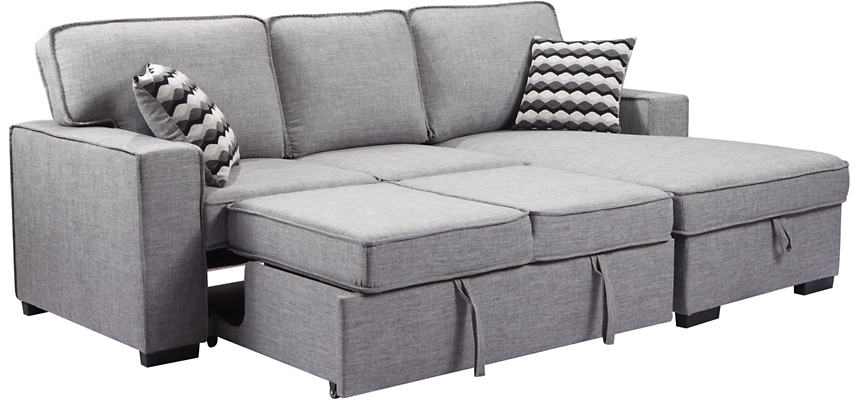 Venetian Grey Sectional with Pull-Out Sleeper & Storage Chaise