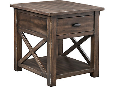 Crossroads Griffin Gray Rectangular End Table, , large