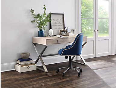 Skylar Peacock Blue Desk Chair, , large
