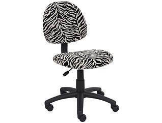 Rene Zebra Armless Desk Chair, , large