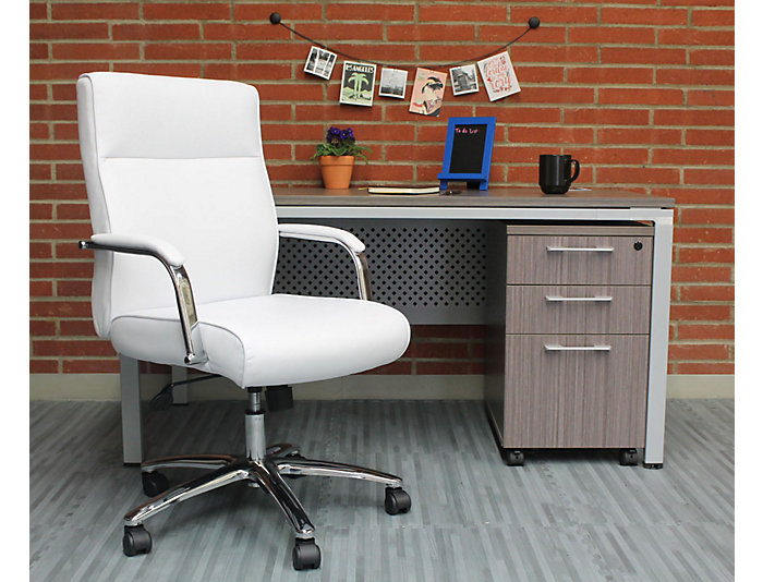 Reed White Desk Chair, , large