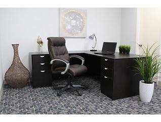 Plush High-Back Brown Chair, Brown, large