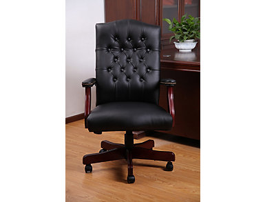 Classic Black Desk Chair, Black, large