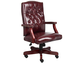Classic Burgundy Desk Chair, , large