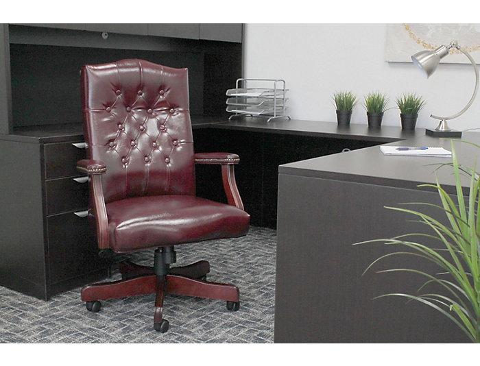 Classic Burgundy Desk Chair, , large