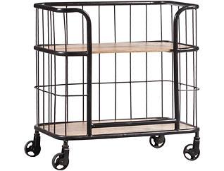 Wood & Metal Trolley Bar Cart, , large