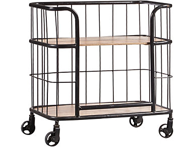 Wood & Metal Trolley Bar Cart, , large