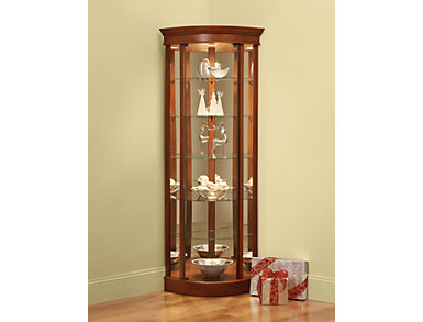Curved Front Corner Cherry Curio, , large