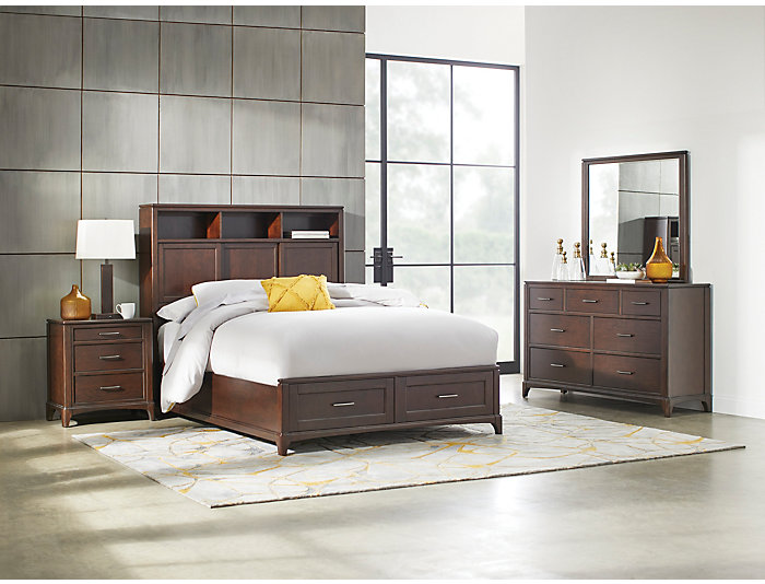 Chelsea Queen 3 Piece Bookcase Storage Bedroom Set